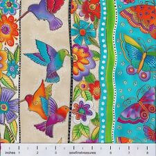 Flying Colors II Laurel Burch STRIPES AQUA Butterflies Fabric By the FQ - 1/4 YD