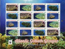 Antigua & Barbuda 2016 MNH Atlantic Goliath Grouper WWF 16v M/S Fish Stamps