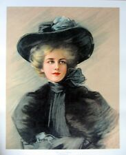 art print~WOMAN IN BLACK~Boileau Victorian Lady Hat scarf vtg repro 18x22