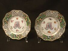 PAIR OF RETICULATED SALAD PLATES CARL SCHUMANN MARIE ANTOINETTE DRESDEN FLOWERS