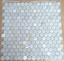 Mother Of Pearl Mosaic Tiles River Bed Nature Pearl Shell Mosaic Hexagon White