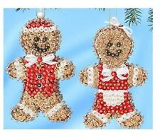 Kit makes 2 Gingerbread Couple Mr & Mrs. sequins, pins, beads, styrofoam