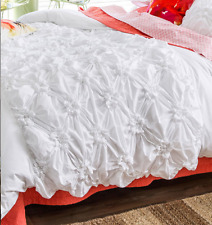 Pretty Shabby Hampton Chic White Pin Tuck Single Bed Set Duvet Doona Quilt Cover