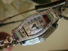 1928 Ladies Art Deco 14K Aztec Colors Enamel Bulova Watch~ RUNNING