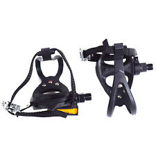 VP PE399 PERFORMANCE RESIN MTB ROAD BIKE PEDALS TOE CLIPS & STRAPS BLACK 9/16