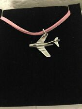 Mikoyan-Gurevich MiG-15 C12 Aircraft Pewter Pendant on a PINK CORD Necklace