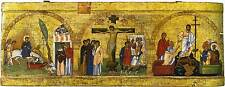 """ORTHODOX WOOD ICON """"Entry into Jerusalem, Crucifixion,Descent into Hell""""."""