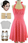 PLUS SIZE 50s Style SALMON PINK w/White POLKADOTS Pinup Betty HALTERTOP SunDress