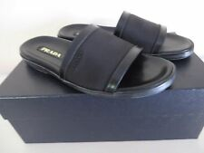 Authentic PRADA Mens Sandals Black Leather  Nero Size EUR 8 US 9 MSRP $ 550