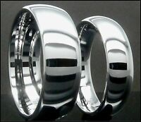 Mens & Womens Tungsten Carbide Ring Plain Mirrored Wedding Band Set 8mm & 6mm