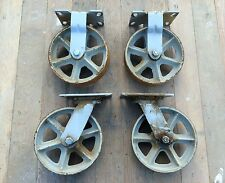 LARGE VTG INDUSTRIAL FACTORY SHOP CART CAST IRON METAL SWIVEL WHEEL CASTER SET