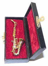 Dollhouse Miniature Sax Musical Instrument Saxophone with Case