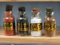 Four Filled Glass Spice Jars, Dolls House Miniatures 1.12 Scale Food & Drink