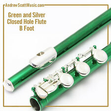 Green and Silver Flute with B Footjoint - Masterpiece, Wind Instrument