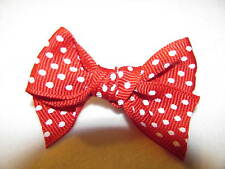 Red with White Little Polka Dots Dog Puppy Pet Hair Bow Ribbon on Alligator Clip