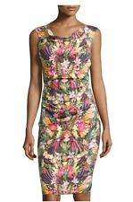 4 NICOLE MILLER Stretch Linen Blend Tropical Fruit Ruched Sheath Dress NWT $355