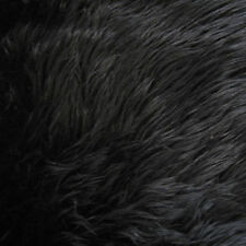 Black Luxury Long Pile Faux Shag Fur Fabric - Sold By The Yard - 60""