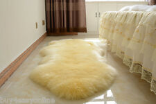 NEW Double Pelt LARGE Sheepskin Rug - Beige- Genuine Real Australian - 6' x 2'