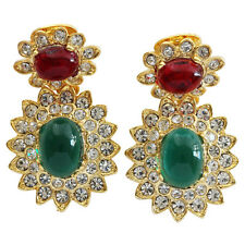 KENNETH JAY LANE Jackie Kennedy Simulated Emerald Ruby Cabochon Clip On Earrings