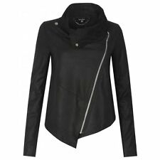 Muubaa Alexis Drape Suede Jacket in Black. RRP £299. UK 10