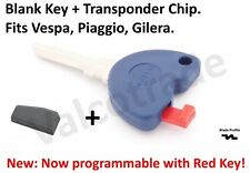 Uncut Key Blank for Piaggio Super Hexagon GTX, Skipper ST 125 + Transponder Chip