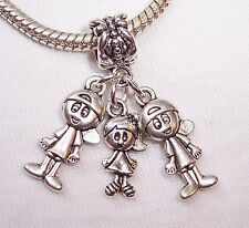Triplets 2 Boys 1 Girl Babies Siblings Dangle Bead fits European Charm Bracelets