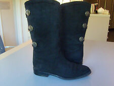 Authentic BALLY Boots  Black Suede  6.5  Equestrian Style Leather Lined Mid-calf