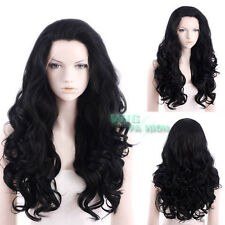 "24"" Long Jet Black Curly Wavy Lace Front Synthetic Wig"
