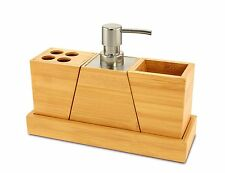 Bamboo 4 Piece Vanity Set Bathroom Accessory Holder, Soap Pump, Tray, Toothbrush