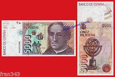 5000 pesetas 1992 CRISTOBAL COLON Serie 9A  SC / SPAIN Pick 165 REPLACEMENT UNC