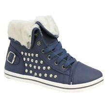 Womens Warm Lined Boots High Top Ankle Ladies Trainer Sneaker Plimsole Shoes