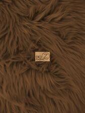 SOLID GRIZZLY SHAGGY FAKE FUR FABRIC - Brown - BY YARD COAT COSTUME SCARF RUG