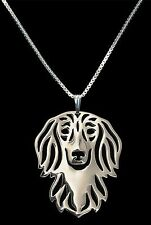 Dachshund Long Haired Dog Pendant Necklace -  Fashion Jewellery - Silver Plated
