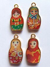 4 x ENAMELED RUSSIAN DOLL CHARMS VERY COLOURFUL 14mm x 26mm GOLD, SET NUMBER 2