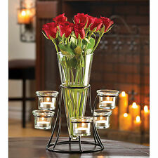 CANDLE HOLDER: Circular Black Iron Stand with Glass Centerpiece Vase NEW