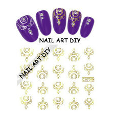 20 Nail Art Stickers-Decals water transfer-Adesivi d'ORO- BUY 3 GET 4 !!!