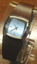 Industry Genuine Leather (IDY111) Stainless Steel Back Quartz Silver Face Watch!