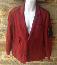 New Alexander McQueen McQ Red Blazer Bomber Jacket With Leather Detail IT54 US-L