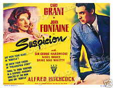 SUSPICION LOBBY TITLE CARD POSTER 1941 CARY GRANT JOAN FONTAINE ALFRED HITCHCOCK