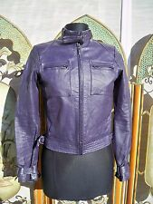 FREE SHIP! PURPLE GENUINE LEATHER JACKET COAT MOTORCYCLE 4 ZIP FRONT POCKETS Fi?