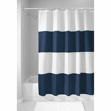 Shower Curtain Thick Stripes Deep Blue And White Bathroom Tub Decor Machine Wash