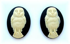 2 IVORY color BARN OWL on BLACK 40mm x 30mm Costume Jewelry CAMEOS for Crafts