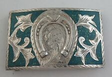 Quality Jalisco Sterling Silver & Turquoise Relief Horseshoe Western Belt Buckle