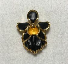 RISIS Orchid Flower Black & Gold-Tone Brooch / Pendant - Designer Jewelry