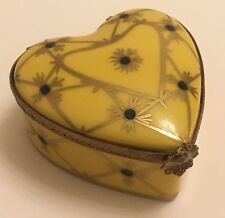 Limoges France Peint Main Artist Signed Heart Shaped Porcelain Trinket Box