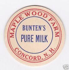 MILK BOTTLE CAP. MAPLE WOOD FARM. CONCORD, NH. DAIRY