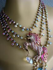 BETSEY JOHNSON~FAIRYLAND CRYSTAL & ENAMEL UNICORN STATEMENT NECKLACE~NWT