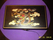 Pier 1 Large Dominoes 28 pc Set - Chinese Dragon Black Leather Box