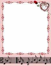 NEW Heart & Rose & Music Letterhead Printable Stationery Paper 26 Sheets