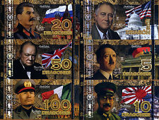 POLYMER SET, El Club De La Moneda, 1;5;10;20;50;100 2015 WWII Leaders, Comm